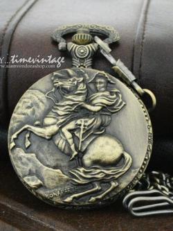 """นาฬิกาล็อคเก๊ตฝาทึบลาย """"Warrior Knight"""" (พร้อมส่ง)"""