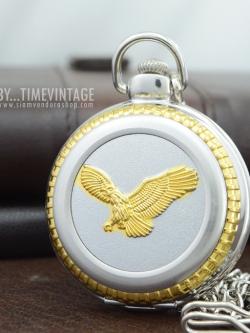 นาฬิกาพกควอทซ์ฝาทึบลายนกอินทรีย์มงคล สีเงิน-ทอง (พร้อมส่ง)