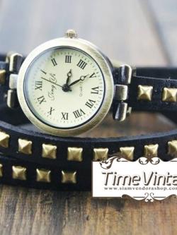 นาฬิกาหนัง พันข้อมือ 3 รอบ-สีดำ (ฟรีค่าจัดส่ง EMS)