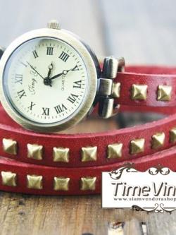 นาฬิกาหนัง พันข้อมือ 3 รอบ-สีแดง (ฟรีค่าจัดส่ง EMS)