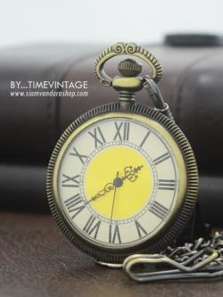นาฬิกาพกแบบไม่มีฝาปิด Antique Brass Roman Pocket หน้าเปลื่อยหน้าปัดทอง (พร้อมส่ง)