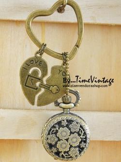 ***พร้อมส่ง***นาฬิกาพวงกุญแจลายหัวใจI LOVE YOU เซท