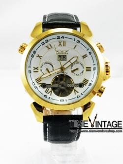 """นาฬิกาข้อมือกลไก หน้าปัดพื้นสีขาว """"Mechanical Date Tourbillon Wrist Watch"""" (พร้อมส่ง)"""