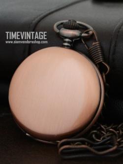 นาฬิกาพกพื้นเรียบหน้า-หลังสีทองแดงอ่อนระบบเครื่องถ่านควอทซ์