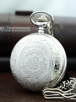 นาฬิกาพก ฝาทึบล็อคเก็ต สีเงิน SILVER ลายช่อบุษบา (พร้อมส่ง)