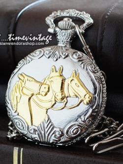 นาฬิกาของขวัญพรีเมียม ลายอาชาทองม้ามงคล ระบบถ่านควอทซ์