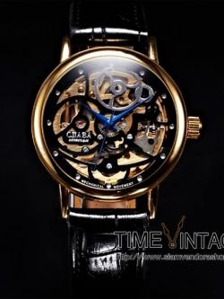 นาฬิกาข้อมือกลไกไขลาน ดีไซด์ Luxury Curved Art สีดำ#2 (พร้อมส่ง)
