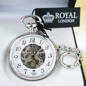 ***พรีออร์เดอร์***นาฬิกาพกกลไกไขลานหน้าเปลื่อยBrandรอยัลลอนดอน สีเทา เลขอารบิค