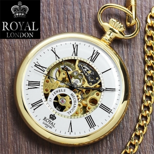 นาฬิกาพกกลไกไขลานหน้าเปลื่อยBrandรอยัลลอนดอน สีทอง รุ่น90049-02 ***พรีออร์เดอร์***