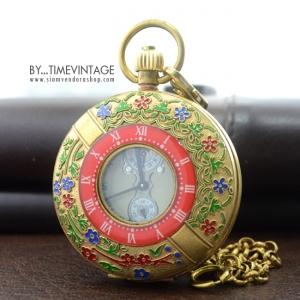 """นาฬิกาพก แบบหน้าปัดกลไก ดีไซด์ """"ARCHAIZE BRASS Imperial Palace ROMAN (สั่งทำ)"""
