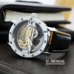 นาฬิกาข้อมือโชว์เครื่องกลไก Metal Art เปลื่อยหน้า-หลัง โครงสีเงินขัด (พร้อมส่ง)