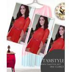 Dress011-เดรสแฟชั่น-เดรสผ้าคัตตอนแขนสามส่วนกระโปรงอัดพีช รอบอก32-35 นิ้ว สีโอรส
