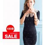 Dress100 - เดรสแฟชั่นนำเข้า เดรสราคาถูก เดรสคอบัวลูกไม้ ประดับมุกด้านหน้า สีน้ำเงินเข้ม อก 34 ((เดรสแฟชั้นพร้อมส่ง))