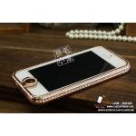 เคส iPhone 5 กรอบเพชร (เพชรคลุมปุ่ม Home) - Pink Gold (ทองชมพู)