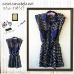 Dress032-เดรสแฟชั่น- เดรสผ้าซาตินคอเชี้ตสีน้ำเงินลายจุด สายรูดเอว รอบอก 32-36 นิ้ว((เดรสแฟชั่นพร้อมส่ง))