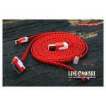 สายชาร์จ 3 หัว เชือกถัก 1 เมตร - สีแดง