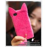 เคส iPhone4/4s หางแมว - สีชมพูเข้ม