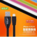 สายชาร์จ iPhone5/5C/5S - Golf Flat Series - สีดำ