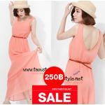 Dress083- Mixdress เดรสยาวแฟชั่นนำเข้า แถมเข็มขัด ด้วยจ้า สีส้ม อก 34 ((เดรสแฟชั้นพร้อมส่ง))