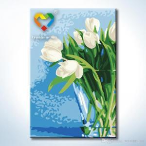 "TC096 ภาพระบายสีตามตัวเลข ""ดอกทิวลิปขาวในแก้วใส"""