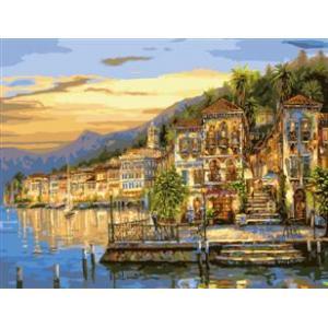 "MMC017 ภาพระบายสีตามตัวเลข ""เมืองริมทะเลสาบยามเช้า"""
