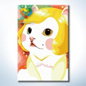 """TC084 ภาพระบายสีตามตัวเลข """"แมวน้อยผมทอง"""""""