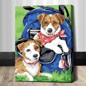 "TE150 ภาพระบายสีตามตัวเลข ""ลูกหมาสองตัวในสนามหญ้า"""