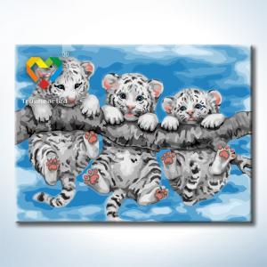 """TE162 ภาพระบายสีตามตัวเลข """"พี่น้องลูกเสือขาว"""""""