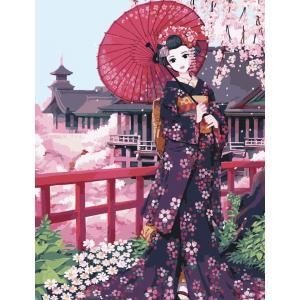"""MMC060 ภาพระบายสีตามตัวเลข """"สาวญี่ปุ่นเที่ยววัด"""""""