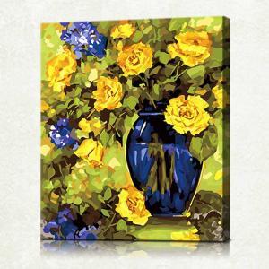 """TMC004 ภาพระบายสีตามตัวเลข """"ดอกไม้ในแจกันน้ำเงิน"""""""