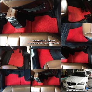 พรมดักฝุ่นไวนิล BMW SERIES 3 E90 รุ่น VINYL MATS กุ๊นขอบ สีแดงขอบดำ เต็มคัน สวยงาม เข้ารูป เหยียบนุ่มสบายเท้า ดักฝุ่นได้ดีที่สุด