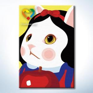 """TC086 ภาพระบายสีตามตัวเลข """"แมวน้อยชอบแอปเปิ้ล"""""""
