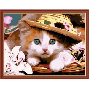 """MG177 ภาพระบายสีตามตัวเลข """"ลูกแมวในหมวก"""""""