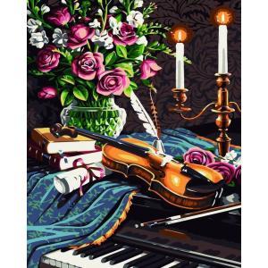 """MG238 ภาพระบายสีตามตัวเลข """"ไวโอลินคู่เปียโน"""""""