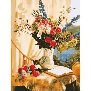"""MMC048 ภาพระบายสีตามตัวเลข """"แจกันดอกไม้ริมบึงน้ำ"""""""