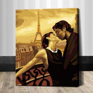 """TG103 ภาพระบายสีตามตัวเลข """"จูบอบอุ่นที่ปารีส"""""""