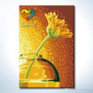 """TC095 ภาพระบายสีตามตัวเลข """"ดอกไม้เหลืองในโหลแก้ว"""""""