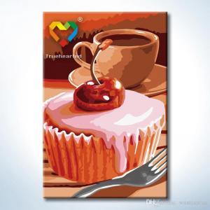 """TC105 ภาพระบายสีตามตัวเลข """"คัพเค้กกับกาแฟ"""""""