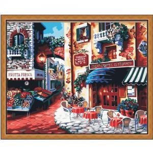 """MG078 ภาพระบายสีตามตัวเลข """"ร้านกาแฟอิตาเลียน"""""""