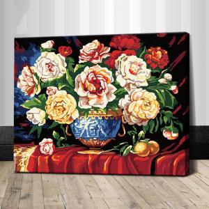 """TG004 ภาพระบายสีตามตัวเลข """"แจกันดอกไม้บนผ้าแดง"""""""