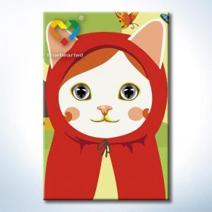 """TC085 ภาพระบายสีตามตัวเลข """"แมวน้อยหมวกแดง"""""""