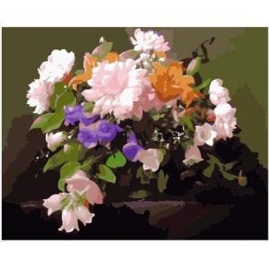 """MG292 ภาพระบายสีตามตัวเลข """"ดอกไม้ชมพูส้มม่วง"""""""
