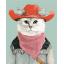 "MG684 ภาพระบายสีตามตัวเลข ""แมวน้อยคาวบอยเข้ม"" thumbnail 1"