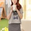 (พร้อมส่ง)มินิเดรส ผ้าคอตตอน ลายทางสีขาว-ดำ + เสื้อสีเทา ลายกระต่าย