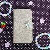 เคสมือถือ กระเป๋าหนังลายมิติหกเหลี่ยม ประดับไข่มุกเพชร สีทองอ่อน สำหรับ Samsung Galaxy Note 3