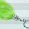 พวงกุญแจเพชรล้อมขนมิ้งพู่ใหญ่ สีเขียวเลมอนแซมขาว