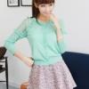 (พร้อมส่ง)เสื้อคลุม ไหมพรมบาง สีเขียวน้ำทะเล สวยหวาน แฟชั่นเกาหลี