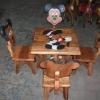 ลาย Mickey Mouse รุ่นมีพนักพิง โต๊ะ ขนาด 18*20 นิ้ว จำนวน 1 ตัว เก้าอี้ ขนาด 10*10 นิ้ว จำนวน 4 ตัว ผลิตจากไม้จามจุรีแท้ ไม่ใช่ไม้อัด รับน้ำหนักได้ถึง 70 กก.