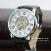 นาฬิกาข้อมือกลไก โครงสีเงิน หน้าปัทม์สีขาว สายน้ำตาลโชว์เครื่องนาฬิกาด้านหลัง (พร้อมส่ง)