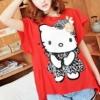 (พร้อมส่ง)เสื้อยืด น่ารักๆ ผ้าคอตตอน สีแดง ลายคิตตี้ แฟชั่นเกาหลี